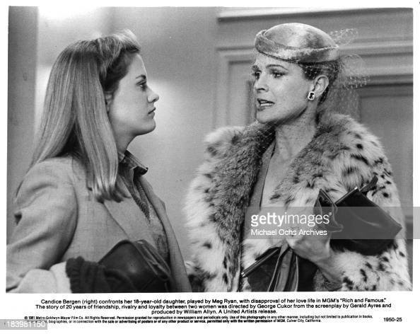 Actresses Meg Ryan and Candice Bergen on set of the MGM movie 'Rich and Famous' in 1981