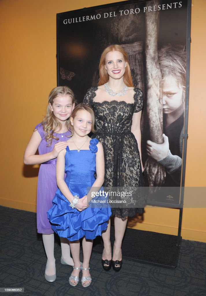 Actresses Megan Charpentier. Isabelle Nelisse and <a gi-track='captionPersonalityLinkClicked' href=/galleries/search?phrase=Jessica+Chastain&family=editorial&specificpeople=653192 ng-click='$event.stopPropagation()'>Jessica Chastain</a> attends the 'Mama' New York Screening at Landmark's Sunshine Cinema on January 7, 2013 in New York City.