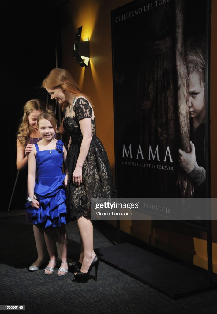 Actresses Megan Charpentier, Isabelle Nelisse and <a gi-track='captionPersonalityLinkClicked' href=/galleries/search?phrase=Jessica+Chastain&family=editorial&specificpeople=653192 ng-click='$event.stopPropagation()'>Jessica Chastain</a> attend the 'Mama' New York Screening at Landmark's Sunshine Cinema on January 7, 2013 in New York City.