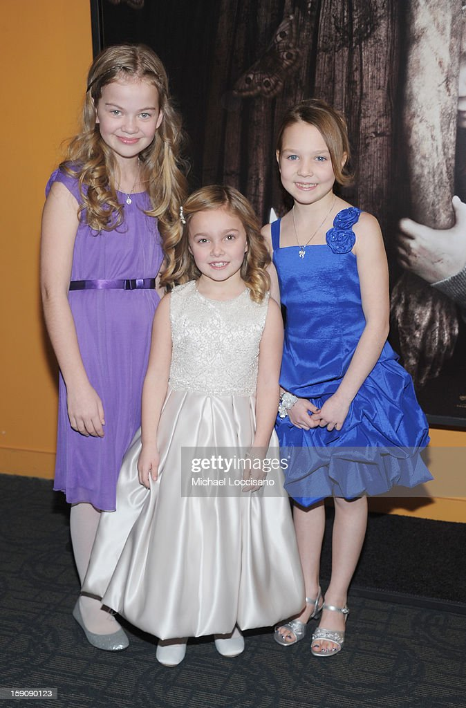 Actresses Megan Charpentier, Morgan McGarry and Isabelle Nelisse attend the 'Mama' New York Screening at Landmark's Sunshine Cinema on January 7, 2013 in New York City.