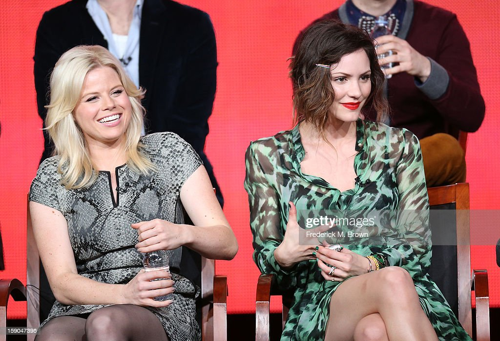 Actresses Megan Hilty and Katharine McPhee speak onstage during the 'Smash' panel discussion at the NBCUniversal portion of the 2013 Winter TCA Tour...