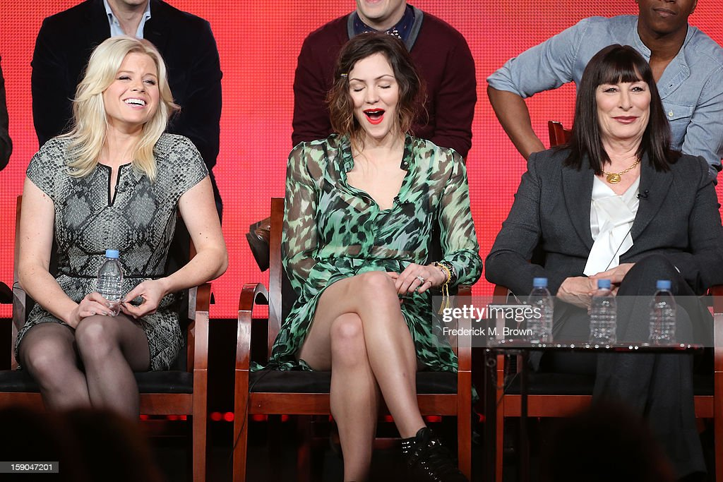 Actresses Megan Hilty, Katharine McPhee, and Anjelica Huston speak onstage during the 'Smash' panel discussion at the NBCUniversal portion of the 2013 Winter TCA Tour- Day 3 at the Langham Hotel on January 6, 2013 in Pasadena, California.