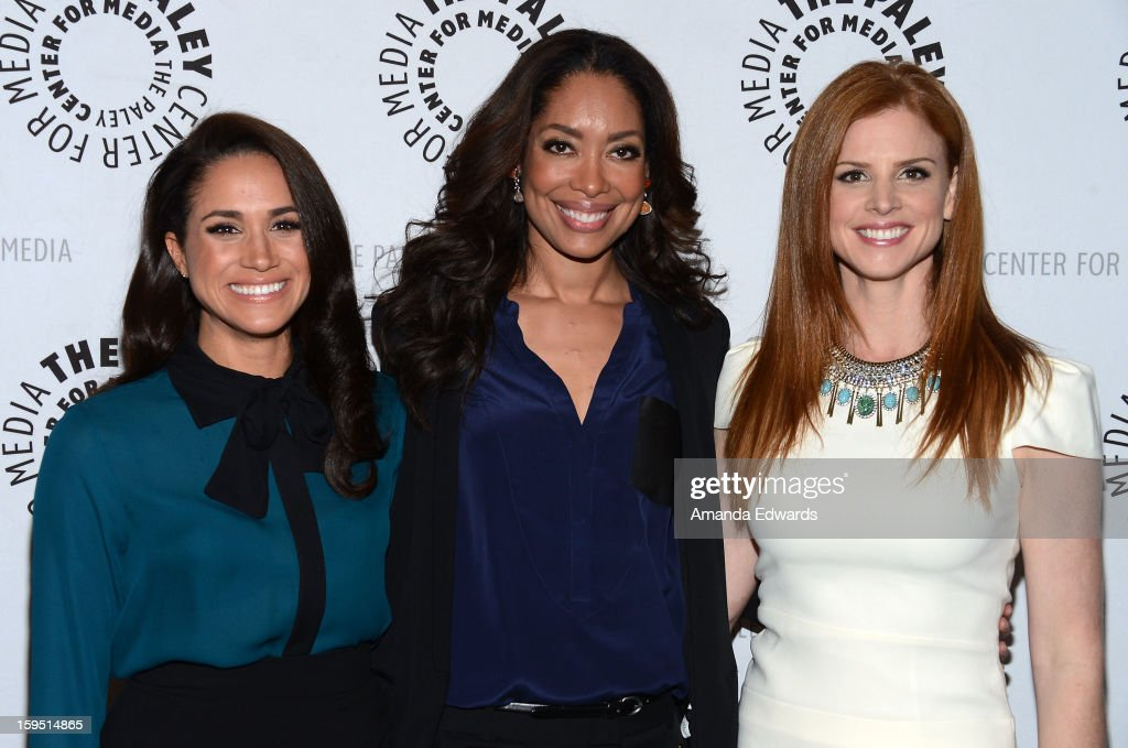Actresses Meghan Markle, <a gi-track='captionPersonalityLinkClicked' href=/galleries/search?phrase=Gina+Torres&family=editorial&specificpeople=581171 ng-click='$event.stopPropagation()'>Gina Torres</a> and Sarah Rafferty arrive at The Paley Center For Media Presents An Evening With 'Suits' Mid-Season Premiere Screening And Panel at The Paley Center for Media on January 14, 2013 in Beverly Hills, California.