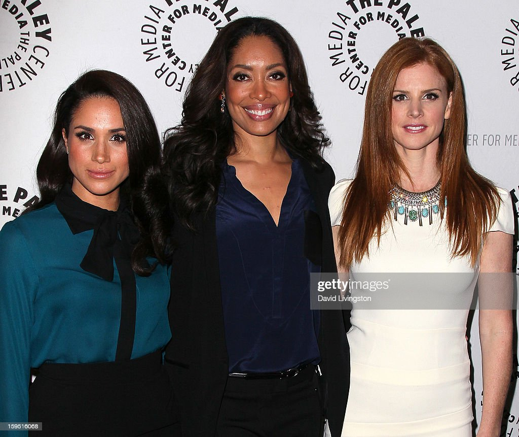 Actresses Meghan Markle, <a gi-track='captionPersonalityLinkClicked' href=/galleries/search?phrase=Gina+Torres&family=editorial&specificpeople=581171 ng-click='$event.stopPropagation()'>Gina Torres</a> and Sarah Rafferty attend The Paley Center for Media's presentation of An Evening With 'Suits' at The Paley Center for Media on January 14, 2013 in Beverly Hills, California.