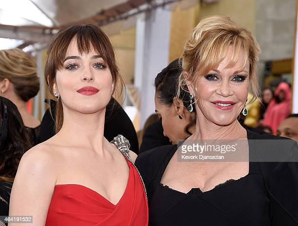 Actresses Melanie Griffith and Dakota Johnson attend the 87th Annual Academy Awards at Hollywood Highland Center on February 22 2015 in Hollywood...