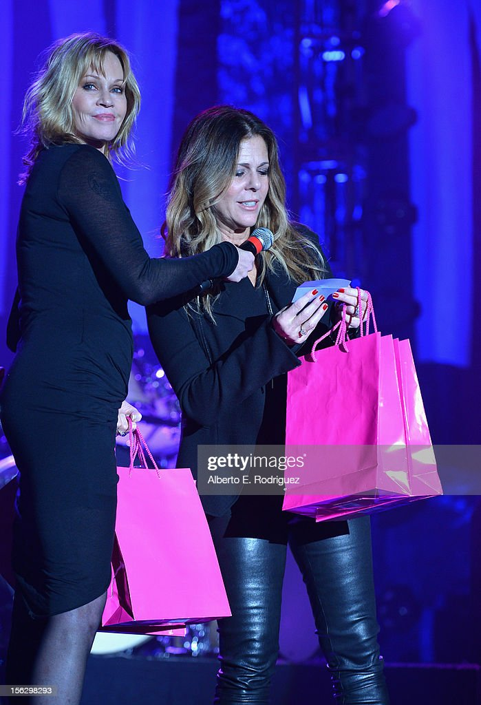 Actresses Melanie Griffith (L) and Rita Wilson onstage at the St. John's Health Center's Power Of Pink benefiting The Margie Petersen Breast Center at Sony Studios on November 12, 2012 in Los Angeles, California.