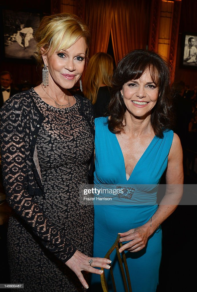 Actresses <a gi-track='captionPersonalityLinkClicked' href=/galleries/search?phrase=Melanie+Griffith&family=editorial&specificpeople=171682 ng-click='$event.stopPropagation()'>Melanie Griffith</a> and <a gi-track='captionPersonalityLinkClicked' href=/galleries/search?phrase=Sally+Field&family=editorial&specificpeople=206350 ng-click='$event.stopPropagation()'>Sally Field</a> attend the 40th AFI Life Achievement Award honoring Shirley MacLaine held at Sony Pictures Studios on June 7, 2012 in Culver City, California. The AFI Life Achievement Award tribute to Shirley MacLaine will premiere on TV Land on Saturday, June 24 at 9PM ET/PST.