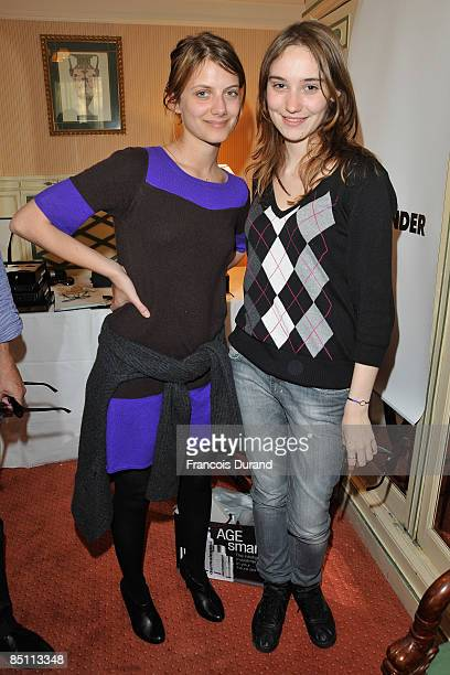 Actresses Melanie Laurent and Deborah Francois attend the 'Espace Glamour Chic' Cesars Gift Lounge at Hotel Napoleon on February 25 2009 in Paris...
