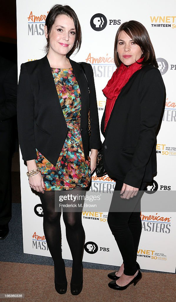 Actresses Melanie Lynskey (L) and Clea DeVall attend the Premiere Of 'American Masters Inventing David Geffen' at The Writers Guild of America on November 13, 2012 in Beverly Hills, California.