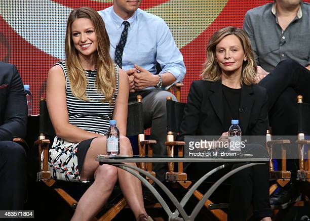 Actresses Melissa Benoist and Calista Flockhart speak onstage during the 'Supergirl' panel discussion at the CBS portion of the 2015 Summer TCA Tour...