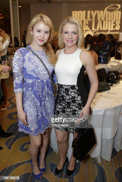 Actresses Melissa Joan Hart and Taylor Spreitler attend the Hollywood Bag Ladies Luncheon on November 15 2013 in Beverly Hills California