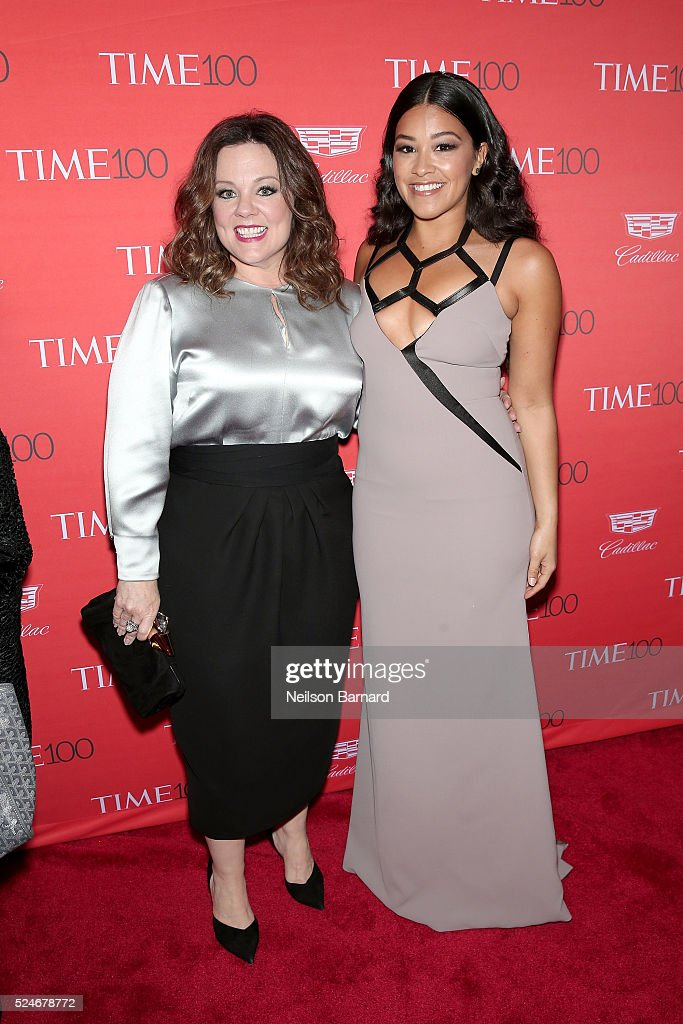 Actresses Melissa McCarthy and Gina Rodriguez attend the 2016 Time 100 Gala at Frederick P Rose Hall Jazz at Lincoln Center on April 26 2016 in New...