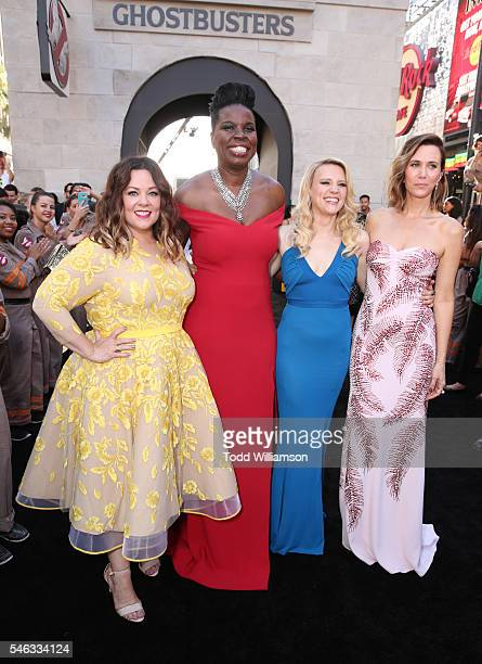 Actresses Melissa McCarthy Leslie Jones Kate McKinnon and Kristen Wiig attend the Premiere of Sony Pictures' 'Ghostbusters' at TCL Chinese Theatre on...