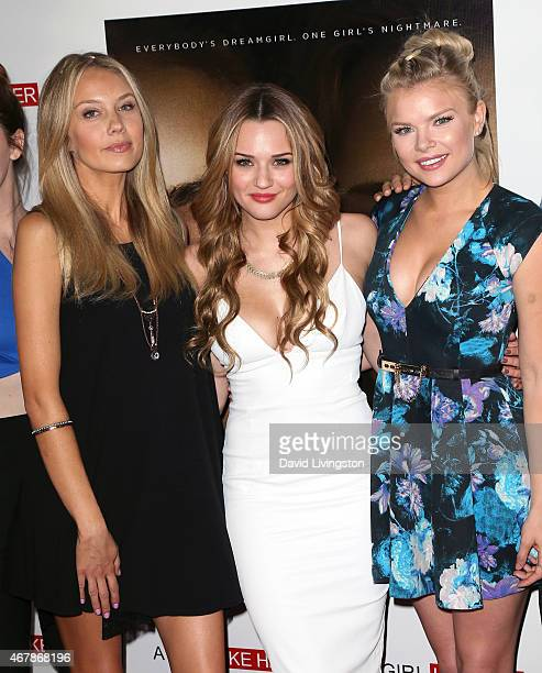 Actresses Melissa Ordway Hunter King and Kelli Goss attend the US premiere of 'A Girl Like Her' at ArcLight Hollywood on March 27 2015 in Hollywood...