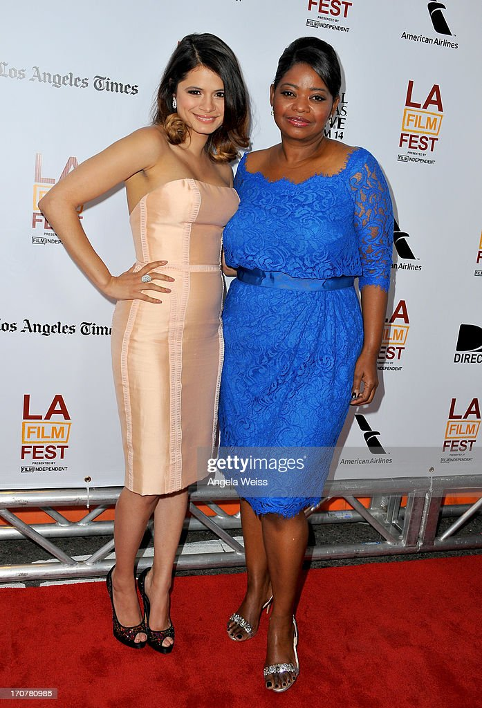 Actresses Melonie Diaz (L) and Octavia Spencer arrive at the premiere of The Weinstein Company's 'Fruitvale Station' during the 2013 Los Angeles Film Festival at Regal Cinemas L.A. Live on June 17, 2013 in Los Angeles, California.