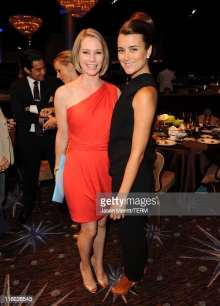 Actresses Meredith Monroe and Cote de Pablo pose during the 2011 Women In Film Crystal Lucy Awards with presenting sponsor PANDORA jewelry at the...