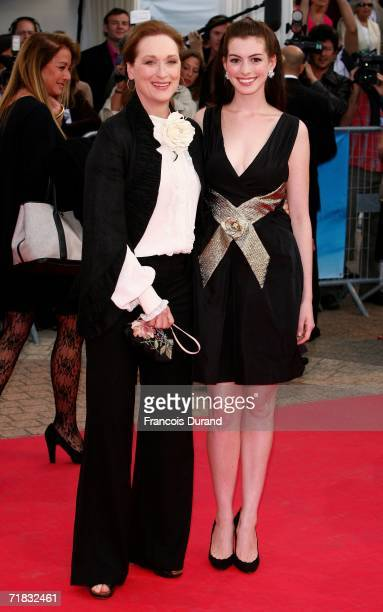 Actresses Meryl Streep and Anne Hathaway arrive at the The Devil Wears Prada premiere at the 32nd Deauville Festival Of American Film on September 9...