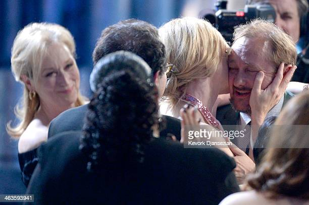 Actresses Meryl Streep and Cate Blanchett with husband Andrew Upton onstage during the 20th Annual Screen Actors Guild Awards at The Shrine...