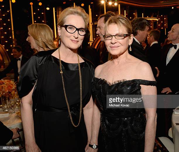 Actresses Meryl Streep and Dianne Wiest with Moet Chandon At The 71st Annual Golden Globe Awards at the Beverly Hilton Hotel on January 12 2014 in...