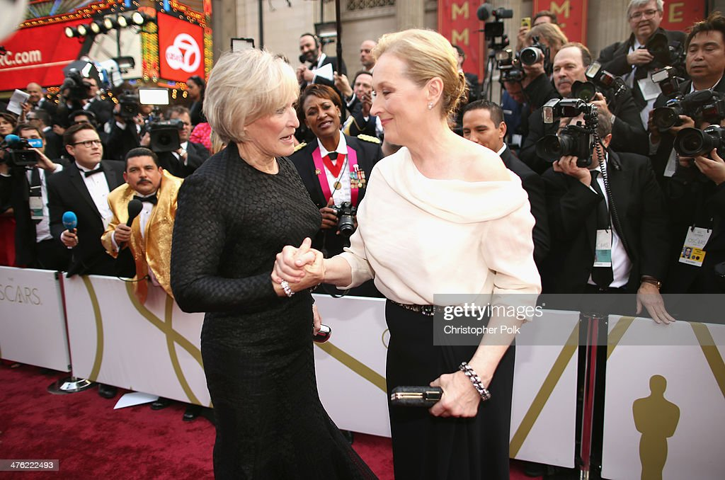Actresses Meryl Streep (R) and Glenn Close attend the Oscars held at Hollywood & Highland Center on March 2, 2014 in Hollywood, California.