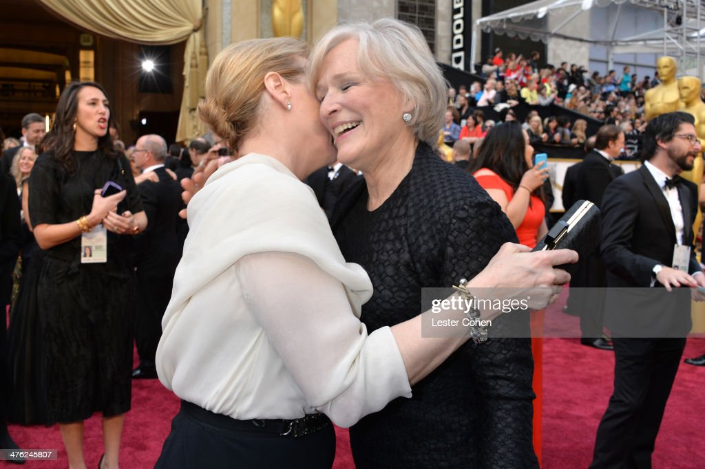 Actresses Meryl Streep and Glenn Close attends the Oscars held at Hollywood & Highland Center on March 2, 2014 in Hollywood, California.