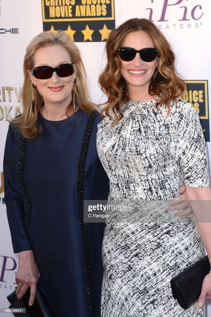 Actresses Meryl Streep and Julia Roberts arrive at the 19th Annual Critics' Choice Movie Awards at Barker Hangar on January 16, 2014 in Santa Monica, California.