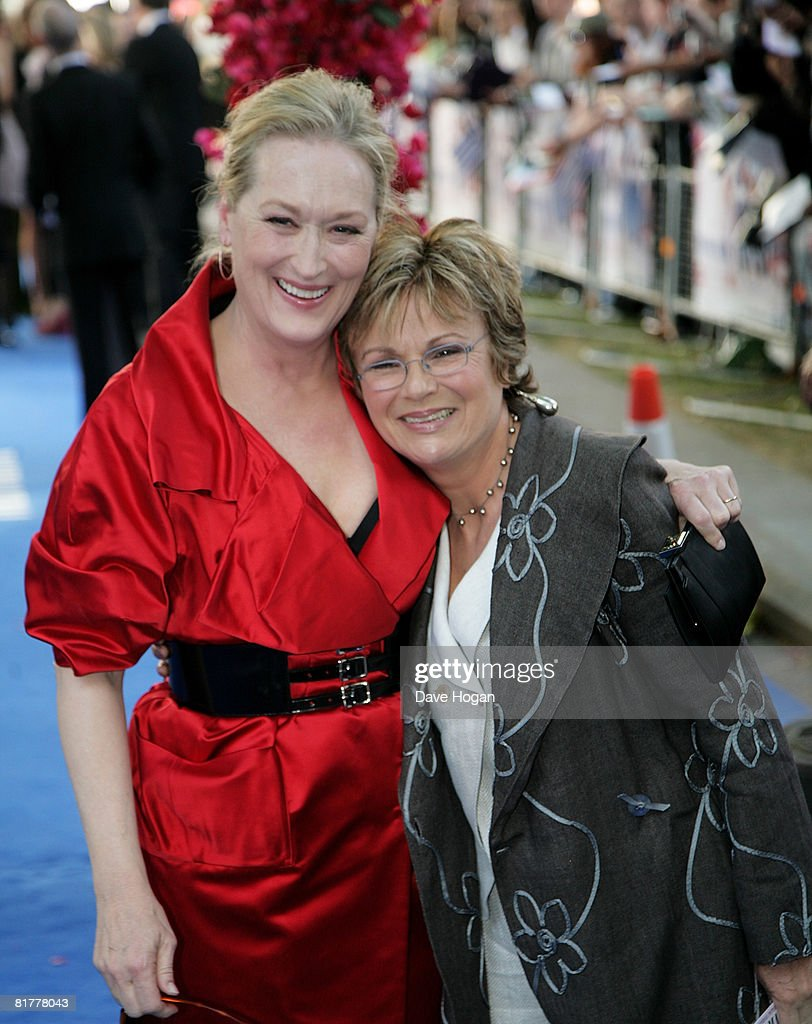 Actresses <a gi-track='captionPersonalityLinkClicked' href=/galleries/search?phrase=Meryl+Streep&family=editorial&specificpeople=171097 ng-click='$event.stopPropagation()'>Meryl Streep</a> and <a gi-track='captionPersonalityLinkClicked' href=/galleries/search?phrase=Julie+Walters&family=editorial&specificpeople=206570 ng-click='$event.stopPropagation()'>Julie Walters</a> arrive at the Mamma Mia! The Movie world premiere held at the Odeon Leicester Square on June 30, 2008 in London, England.