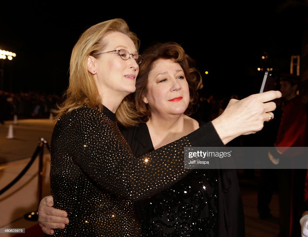 Actresses <a gi-track='captionPersonalityLinkClicked' href=/galleries/search?phrase=Meryl+Streep&family=editorial&specificpeople=171097 ng-click='$event.stopPropagation()'>Meryl Streep</a> (L) and <a gi-track='captionPersonalityLinkClicked' href=/galleries/search?phrase=Margo+Martindale&family=editorial&specificpeople=2649306 ng-click='$event.stopPropagation()'>Margo Martindale</a> arrive at the 25th annual Palm Springs International Film Festival awards gala at Palm Springs Convention Center on January 4, 2014 in Palm Springs, California.