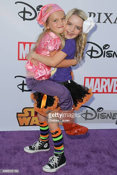 Actresses Mia Talerico and Mckenna Grace attend Disney's VIP halloween event at Disney Consumer Products Campus on October 1 2014 in Glendale...