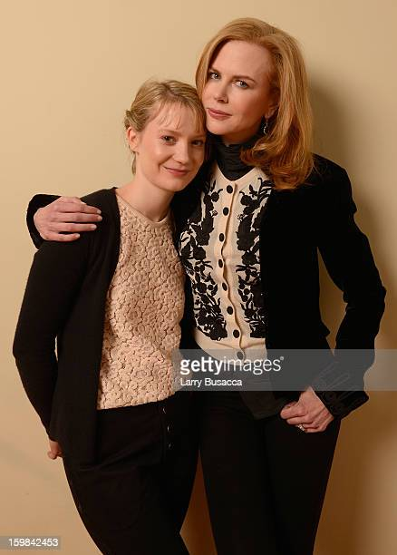 Actresses Mia Wasikowska and Nicole Kidman pose for a portrait during the 2013 Sundance Film Festival at the Getty Images Portrait Studio at Village...