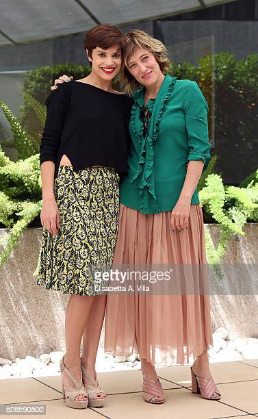 Actresses Micaela Ramazzotti and Valeria Bruni Tedeschi attend a photocall for 'La Pazza Gioia' at Visconti Palace Hotel on May 6 2016 in Rome Italy