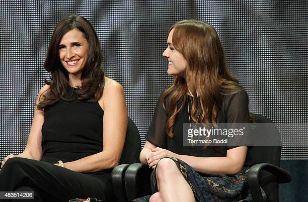 Actresses Michaela Watkins and Tara Lynne Barr speak onstage during the 'Casual' panel at the Hulu 2015 Summer TCA Presentation at The Beverly Hilton...