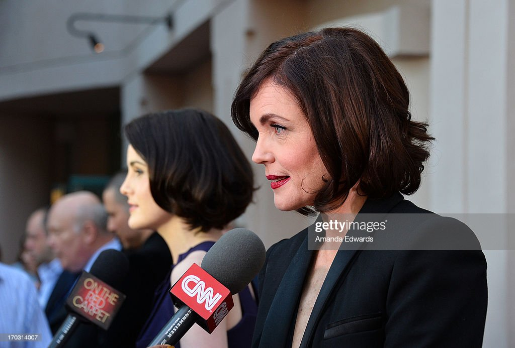 Actresses <a gi-track='captionPersonalityLinkClicked' href=/galleries/search?phrase=Michelle+Dockery&family=editorial&specificpeople=4047702 ng-click='$event.stopPropagation()'>Michelle Dockery</a> (L) and <a gi-track='captionPersonalityLinkClicked' href=/galleries/search?phrase=Elizabeth+McGovern&family=editorial&specificpeople=734460 ng-click='$event.stopPropagation()'>Elizabeth McGovern</a> arrive at the 'Downton Abbey' talent panel Q&A at the Leonard H. Goldenson Theatre on June 10, 2013 in North Hollywood, California.