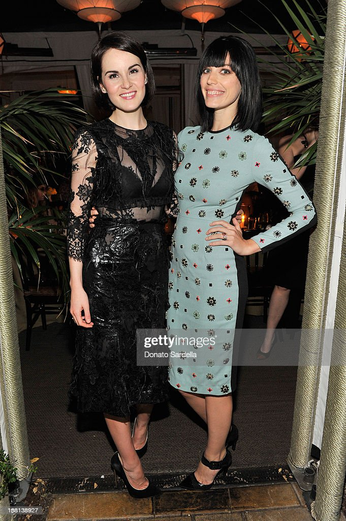 Actresses <a gi-track='captionPersonalityLinkClicked' href=/galleries/search?phrase=Michelle+Dockery&family=editorial&specificpeople=4047702 ng-click='$event.stopPropagation()'>Michelle Dockery</a> (L) and <a gi-track='captionPersonalityLinkClicked' href=/galleries/search?phrase=Jessica+Pare&family=editorial&specificpeople=793183 ng-click='$event.stopPropagation()'>Jessica Pare</a> attend a dinner in honor of Erdem hosted by Lisa Love and presented by NARS at Chateau Marmont on November 14, 2013 in Los Angeles, California.