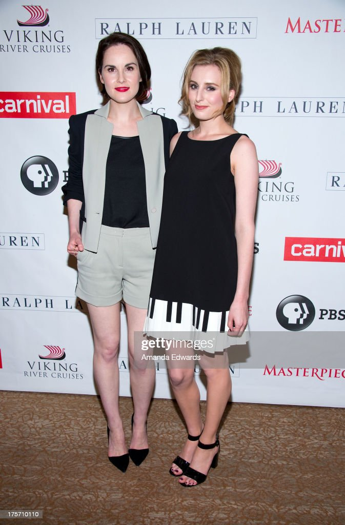 Actresses <a gi-track='captionPersonalityLinkClicked' href=/galleries/search?phrase=Michelle+Dockery&family=editorial&specificpeople=4047702 ng-click='$event.stopPropagation()'>Michelle Dockery</a> (L) and <a gi-track='captionPersonalityLinkClicked' href=/galleries/search?phrase=Laura+Carmichael&family=editorial&specificpeople=7201392 ng-click='$event.stopPropagation()'>Laura Carmichael</a> arrive at the 'Downton Abbey' photo call at The Beverly Hilton Hotel on August 6, 2013 in Beverly Hills, California.