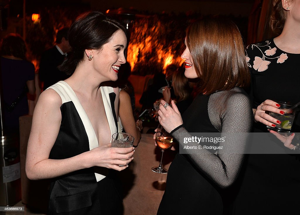Actresses Michelle Dockery (L) and Sophie McShera attend the Weinstein Company & Netflix's 2014 SAG after party in partnership with Laura Mercier at Sunset Tower on January 18, 2014 in West Hollywood, California.