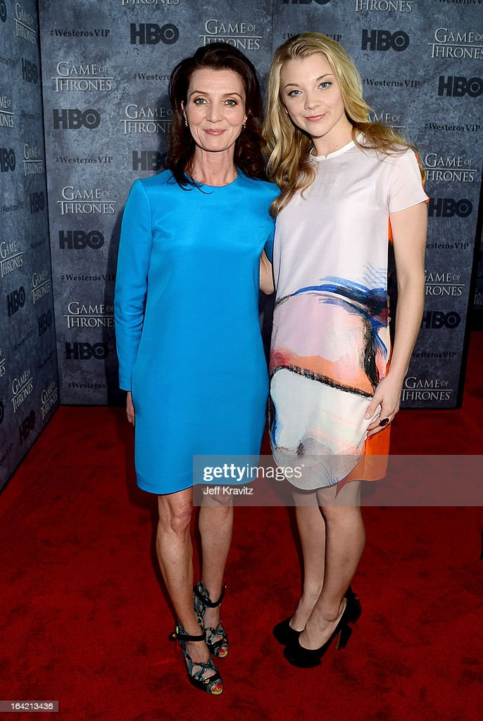 Actresses <a gi-track='captionPersonalityLinkClicked' href=/galleries/search?phrase=Michelle+Fairley&family=editorial&specificpeople=5745645 ng-click='$event.stopPropagation()'>Michelle Fairley</a> and <a gi-track='captionPersonalityLinkClicked' href=/galleries/search?phrase=Natalie+Dormer&family=editorial&specificpeople=817757 ng-click='$event.stopPropagation()'>Natalie Dormer</a> attend HBO's 'Game Of Thrones' Season 3 San Francisco Premiere on March 20, 2013 in San Francisco, California.