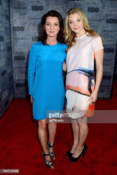 Actresses Michelle Fairley and Natalie Dormer attend HBO's 'Game Of Thrones' Season 3 San Francisco Premiere on March 20 2013 in San Francisco...
