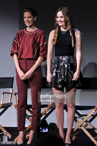 Actresses Michelle Monaghan and Liana Liberato attend Apple Store Soho Presents 'The Best of Me' on October 16 2014 in New York City