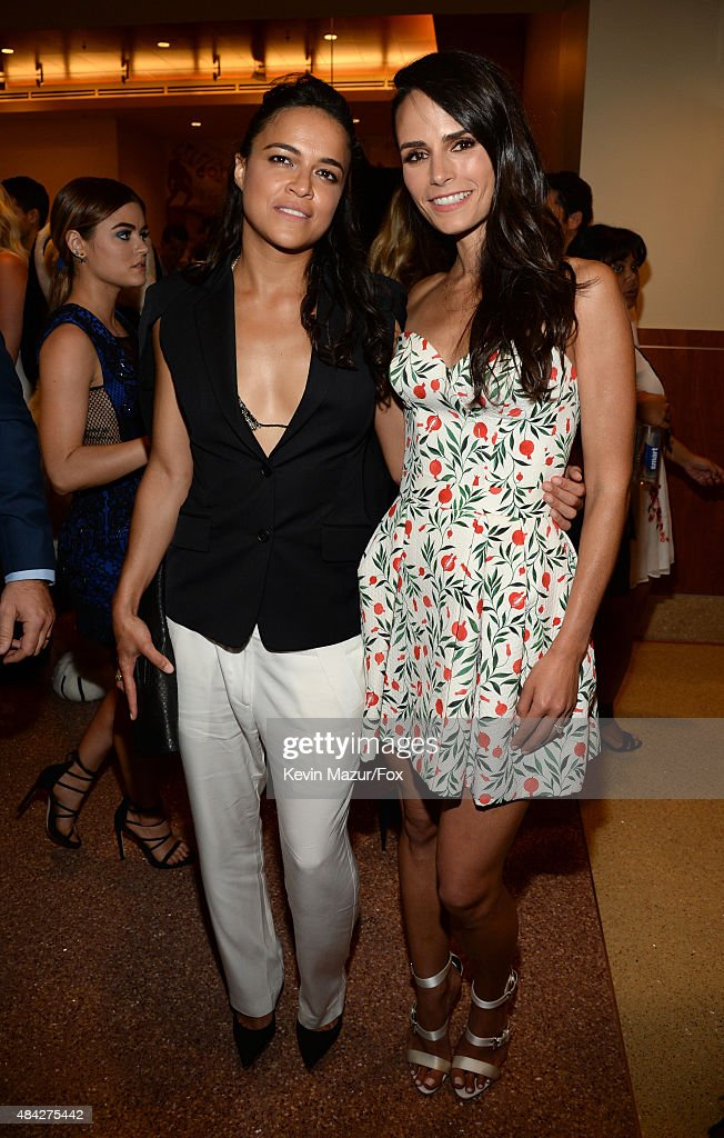 Actresses Michelle Rodriguez and Jordana Brewster attend the Teen Choice Awards 2015 at the USC Galen Center on August 16 2015 in Los Angeles...