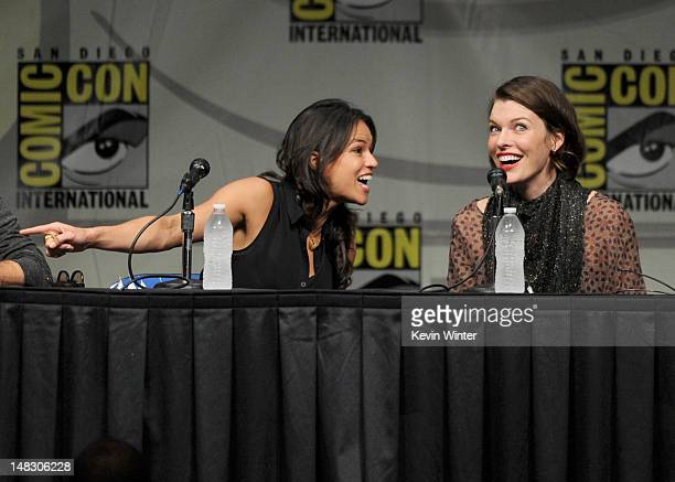 Actresses Michelle Rodriguez and Milla Jovovich speak at the Screen Gems' 'Resident Evil Retribution' panel during ComicCon International 2012 at San...