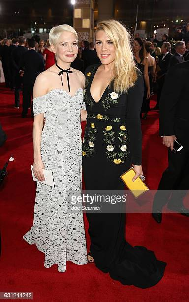 Actresses Michelle Williams and Busy Philipps attend the 74th Annual Golden Globe Awards at The Beverly Hilton Hotel on January 8 2017 in Beverly...