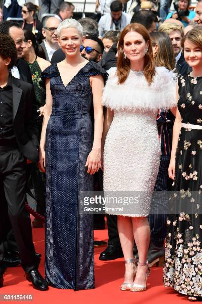 Actresses Michelle Williams and Julianne Moore attends the 'Wonderstruck' screening during the 70th annual Cannes Film Festival at Palais des...