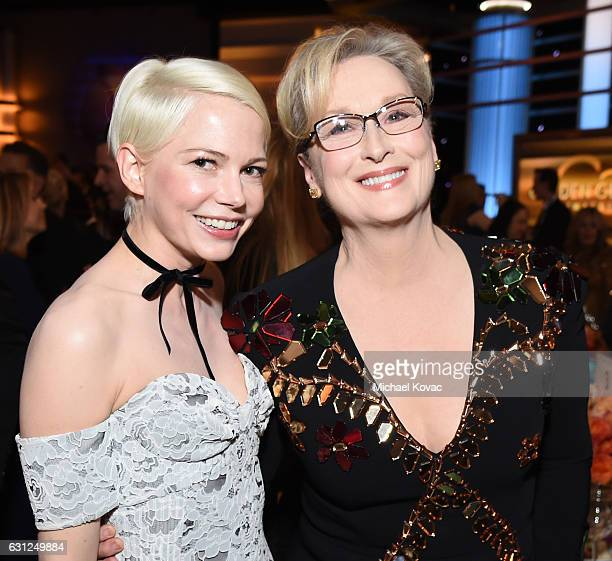 Actresses Michelle Williams and Meryl Streep attend the 74th Annual Golden Globe Awards at The Beverly Hilton Hotel on January 8 2017 in Beverly...