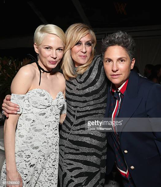 Actresses Michelle Williams Judith Light and director Jill Soloway attend Amazon Studios Golden Globes Celebration at The Beverly Hilton Hotel on...