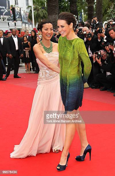 Actresses Michelle Yeoh and Evangeline Lilly attend the 'You Will Meet A Tall Dark Stranger' Premiere held at the Palais des Festivals during the...
