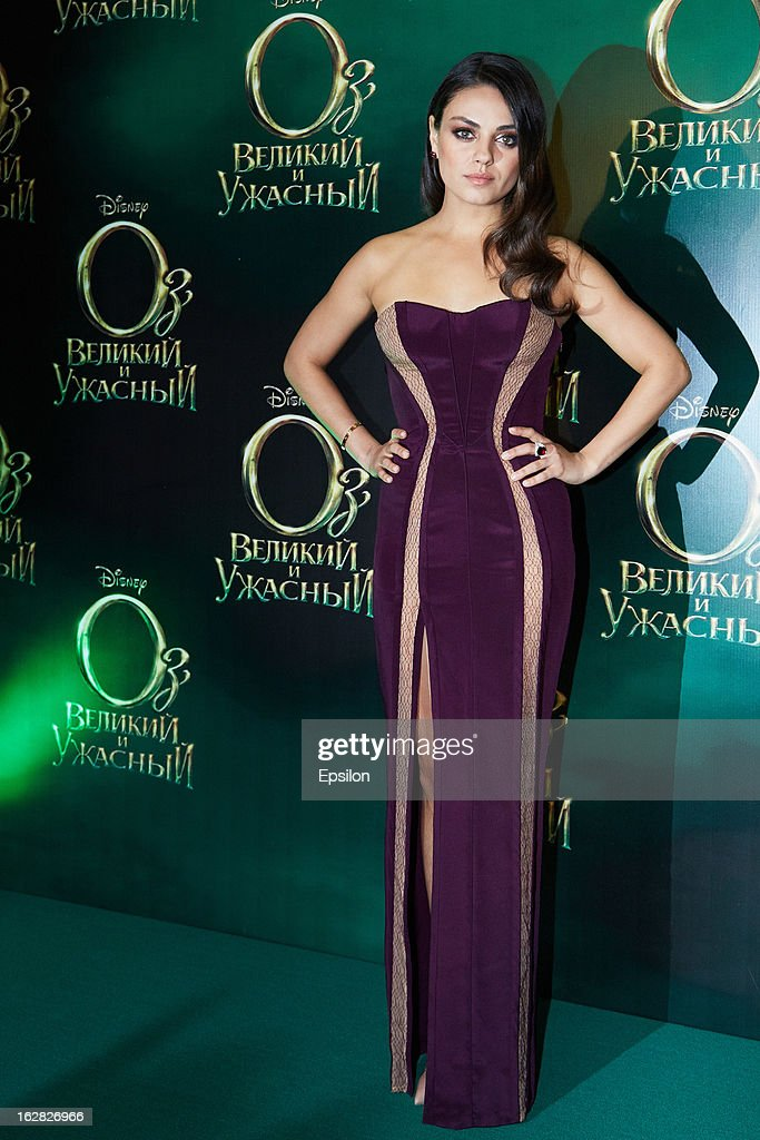 Actresses <a gi-track='captionPersonalityLinkClicked' href=/galleries/search?phrase=Mila+Kunis&family=editorial&specificpeople=212845 ng-click='$event.stopPropagation()'>Mila Kunis</a> attends Walt Disney Pictures Moscow premiere of 'Oz The Great And Powerful' - Red Carpet at the Okyabe cinema hall on February 27, 2013 in Moscow, Russia.