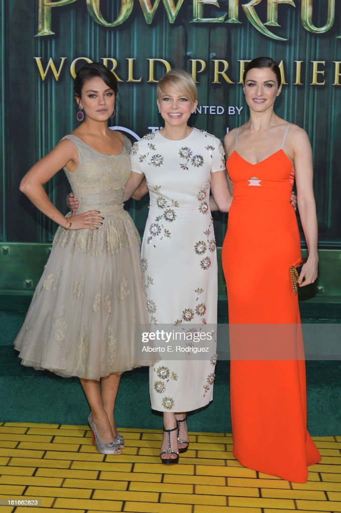 Actresses Mila Kunis, Michelle Williams and Rachel Weisz attend Walt Disney Pictures World Premiere of 'Oz The Great And Powerful' - Red Carpet at the El Capitan Theatre on February 13, 2013 in Hollywood, California.
