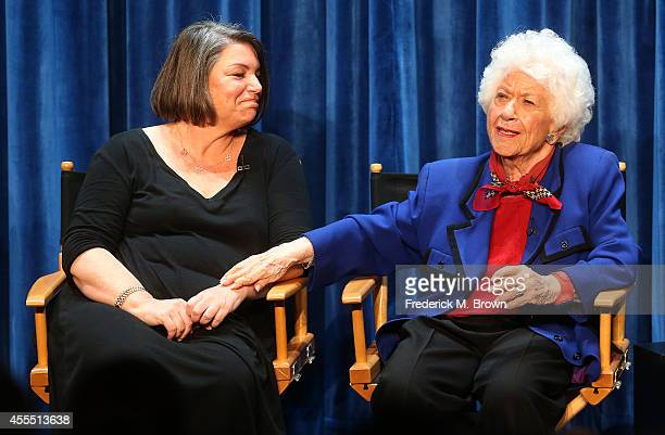 Actresses Mindy Cohn and Charlotte Rae speak during The Paley Center for Media's PaleyFest 2014 Fall TV Preview 'The Facts of Life' 35th Anniversary...