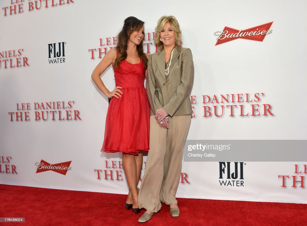 Actresses Minka Kelly (L) and Jane Fonda attend LEE DANIELS' THE BUTLER Los Angeles premiere, hosted by TWC, Budweiser and FIJI Water, Purity Vodka and Stack Wines, held at Regal Cinemas L.A. Live on August 12, 2013 in Los Angeles, California.